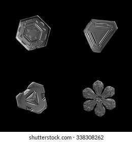 Set of 4 real snowflake photos (tiny hexagonal and triangular plate crystals + stellar dendrite snowflake). Monochrome version, isolated on black background.