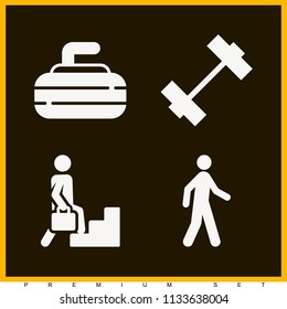 Set of 4 sports filled icons such as pedestrian walking, pedestrian, weight