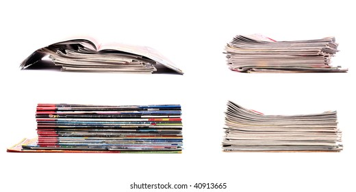 Set of 4 stacks of newspapers isolated on clear white background