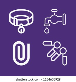Set of 4 tool outline icons such as water faucet, collar, attachment