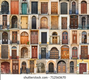 Set of 45 old doors and gates from Lvov, Ukraine. Examples of world architectural heritage.