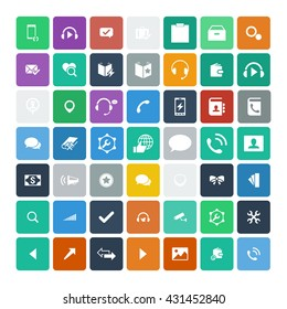 Set of 49 Universal Icons. Simple Flat Style. Business, internet, web design.