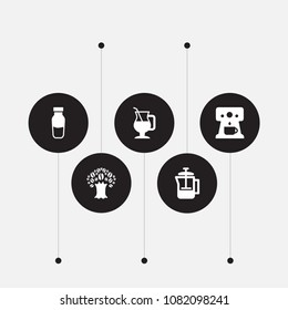 Set of 5 beverage icons set. Collection of percolator, mocha, tree and other elements.