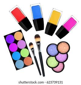 set of 5 eyeshadows, brushes and nailpolishes isolated on white