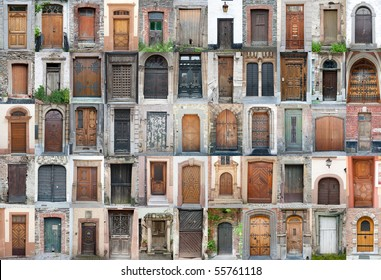 Set of 55 old doors and gates from Belgium, Luxembourg and France.