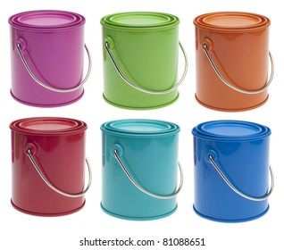Set of 6 Colored Paint Cans in Pink, Green, Orange, Red, Turquoise and Blue Isolated on White with a Clipping Path.