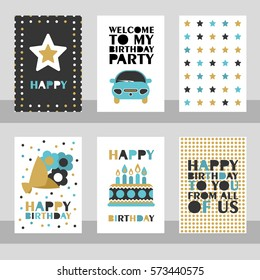 Set of 6 cute creative cards templates with Happy birthday theme design. Hand Drawn card for birthday, anniversary, party invitations, scrapbooking.