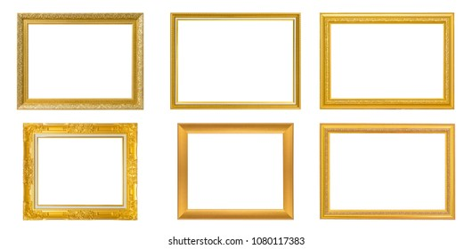 Set of 6 Gold frame for painting or picture on white background. isolated. clipping path
