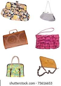 Set of 6 Ladies Purses Handbags Isolated on White.