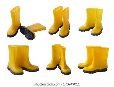 Set 6 pair of yellow gumboots isolated on white background