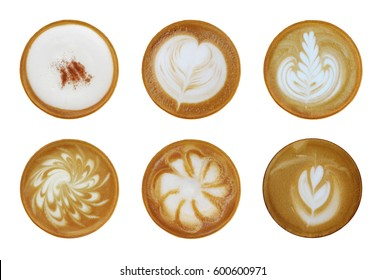 Set of 6 top view of hot coffee latte cappuccino foam art isolated on white background.