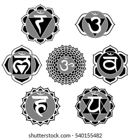 Set of 7 black and white chakras designed for coloring book.