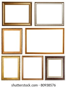 Set of 7 picture frames. Isolated over white background with clipping path