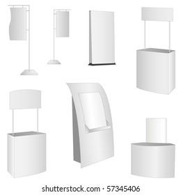 set of 7 white display.