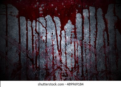set 8. bloody metal wall  in the dark for horror content and halloween festival. 3d illustration.