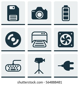 Set Of 9 Computer Hardware Icons. Includes Blank Cd, Diskette, Computer Keypad And Other Symbols. Beautiful Design Elements.