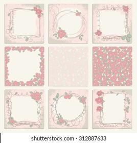 Set of 9 creative floral universal background with frames. Hand Drawn cards with doodle roses. Wedding, anniversary, birthday, Valentines day, party invitations. raster version