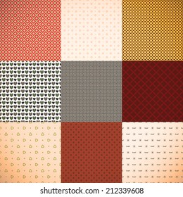 Set of 9 different colorful backgrounds or textures