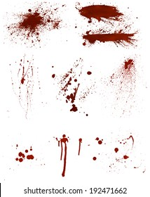 Set of 9 different highly detailed bloodstains