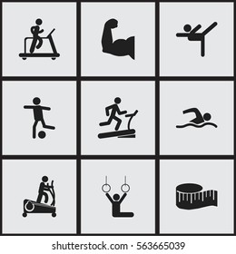 Set Of 9 Editable Healthy Icons. Includes Symbols Such As Training Pool, Cloth Ruler, Jogging And More. Can Be Used For Web, Mobile, UI And Infographic Design.