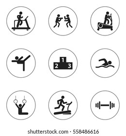 Set Of 9 Editable Sport Icons. Includes Symbols Such As Racetrack Training, Jogging, Training Pool And More. Can Be Used For Web, Mobile, UI And Infographic Design.