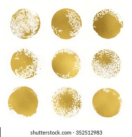 Set of 9 golden glitter leaf foil textured circle stamps