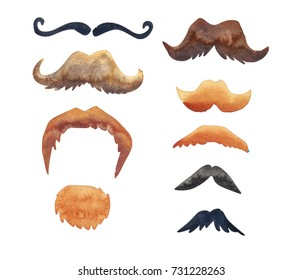 Set of 9 hand painted watercolor mustaches.