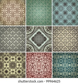 set of 9 seamless patterns in retro style.