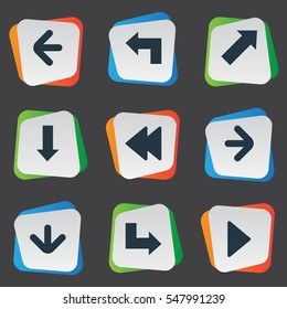 Set Of 9 Simple Arrows Icons. Can Be Found Such Elements As Indicator , Left Direction , Right Landmark.