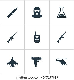 Set Of 9 Simple Battle Icons. Can Be Found Such Elements As Firearm, Terrorist, Cold Weapon And Other.