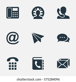 Set Of 9 Simple Communication Icons. Can Be Found Such Elements As Intercommunication, Dialogue, Telephone Directory And Other.