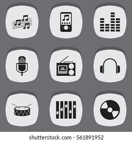 Set Of 9 Sound Icons. Includes Symbols Such As Musical Sign, Snare, Earphone And More. Can Be Used For Web, Mobile, UI And Infographic Design.