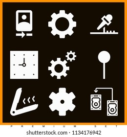 Set of 9 tool filled icons such as map pin, gear, gears couple, settings, clock, microphone, iron, computer