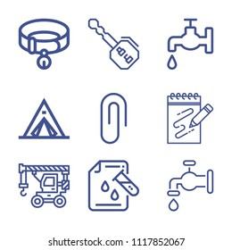 Set of 9 tool outline icons such as crane, key, tent, attachment, water faucet, science, water, scketching