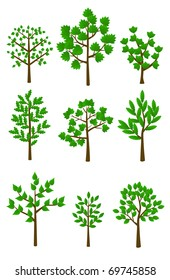 set of 9 trees