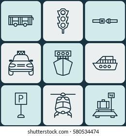 Set Of 9 Vehicle Icons. Includes Vehicle, Car Vehicle, Safety Belt And Other Symbols. Beautiful Design Elements.
