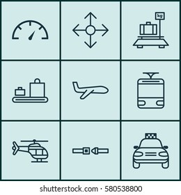 Set Of 9 Vehicle Icons. Includes Safety Belt, Air Transport, Streetcar And Other Symbols. Beautiful Design Elements.