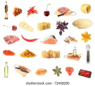 Set of about 27 healthy foods isolated on white background