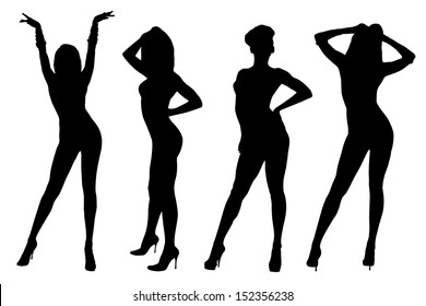 Set of abstract dancing women silhouette isolated on white background