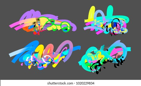 set of abstract digital painting elements isolated on a grey background for art design, raster version illustration collection