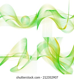 set of abstract green line yellow wave pistachio band on white background raster