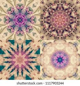 Set of abstract illustrations multicolor dark kaleidoscope mandala. Bright flowers seamless.