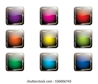 Set of abstract multi-color backgrounds with a golden frame, with space for your text, isolated on a white background. Can be used as web buttons, icons, etc.
