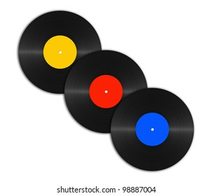 set of abstract vinyl discs on a white background