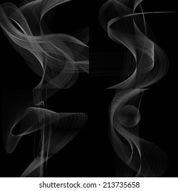 set of abstract white line grey wave gray band on black background raster