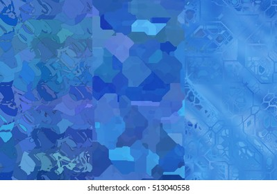 Set of abstractions picture. Three background blue. illustration beautiful.