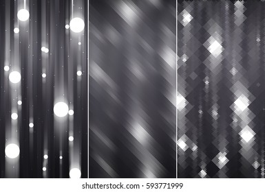 Set of abstractions picture. Three background grey illustration.