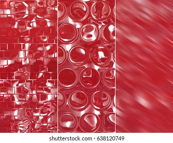 Set of abstractions picture. Three background red.