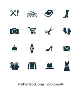 set of accessories icons on white background
