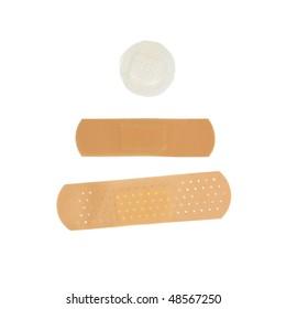 A set of adhesive bandages isolated on white